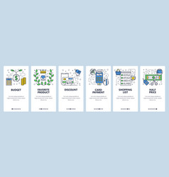 web site onboarding screens shopping sales and vector image