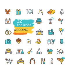 wedding icon set line colored symbols vector image