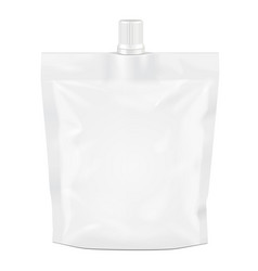 White blank doy-pack doypack foil food or drink vector