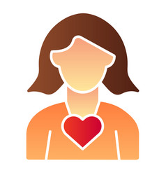 woman with heart flat icon woman day color icons vector image
