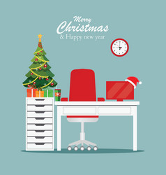 christmas and new year in modern office workplace vector image vector image