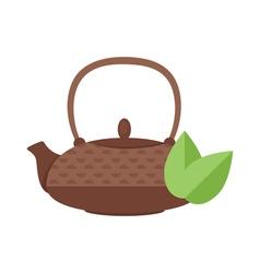 flat style of tea pot vector image vector image