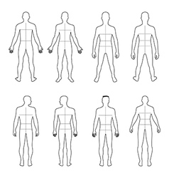 Full length front back man outlined silhouette vector image