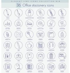 Office stacionery outline icon set Elegant vector image