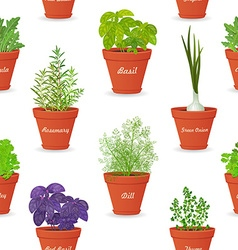 seamless texture with herbs planted in pots for vector image vector image