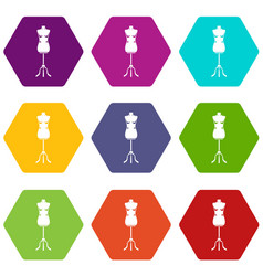 sewing mannequin icon set color hexahedron vector image vector image
