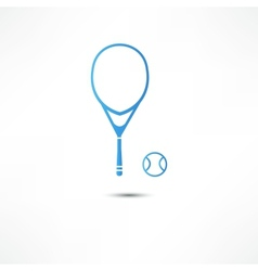 Tennis racket and ball icon vector image vector image