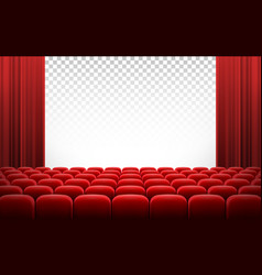 white cinema theatre screen with red curtains and vector image vector image