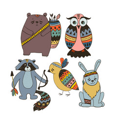 boho collection with wild animals vector image