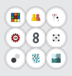 flat icon entertainment set of chequer poker ace vector image