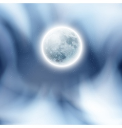 Full moon in the night sky with clouds vector image vector image