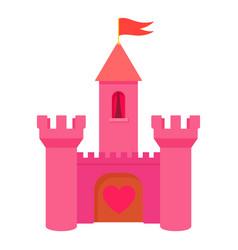 pink princess castle icon cartoon style vector image