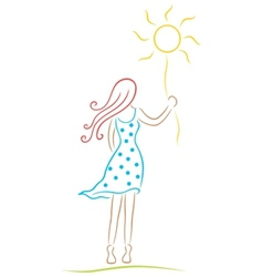 Woman with sun vector image vector image
