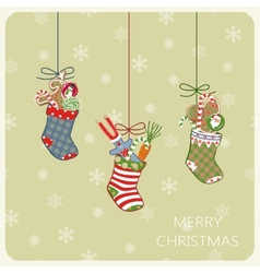 Christmas card with socks and gifts vector image