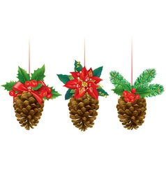 Christmas decorations from pine cones vector image vector image