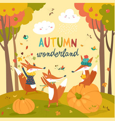 little foxes playing with leaves in autumn forest vector image