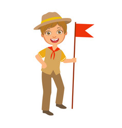 scout boy with red flag dressed in uniform a vector image