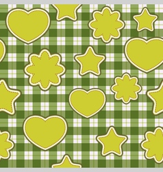 seamless pattern with green applications on checke vector image