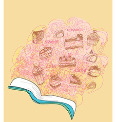 Sketchy doodle with recipe book dessert vector image