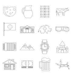 Switzerland Icons set outline style vector image vector image