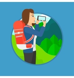 Woman with backpack taking photo vector image vector image