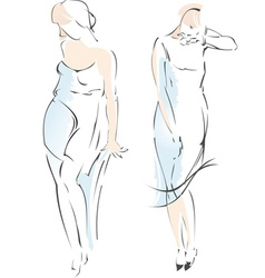 Abstract Fashion Girl Drawing vector image vector image