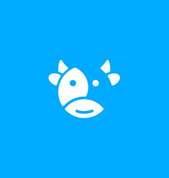 cartoon cute cow icon on blue background milk vector image