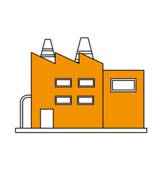 Color silhouette cartoon yellow building vector