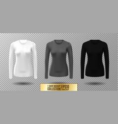 long sleeve blank shirt white gray and vector image