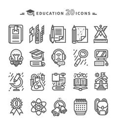 Set of Black Education Icons on White Background vector image