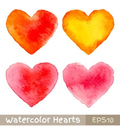 Set of Colorful Watercolor Hearts vector image