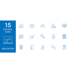 15 education icons vector image