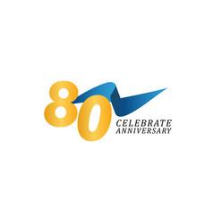 80 years anniversary celebration elegant ribbon vector