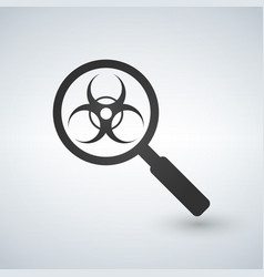 a magnifier icon with a biohazard sign vector image