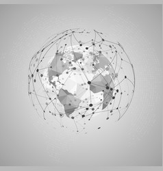 Abstract internet concept world polygonal map vector
