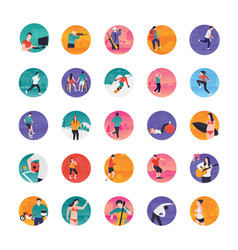 Activity flat icons pack vector