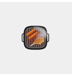 Barbecue grill sausage and steak meat icon vector