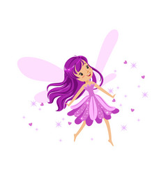 beautiful smiling purple fairy girl flying vector image