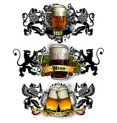 beer mugs decorative vector image