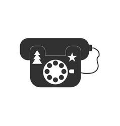 black icon on white background landline phone vector image