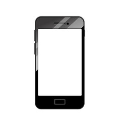 Black realistic smartphone with blank screen vector