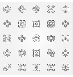 blockchain line icons block chain vector image