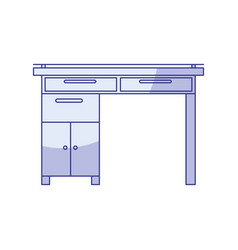 blue shading silhouette of wooden home desk with vector image