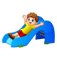 boy sliding in the park vector image