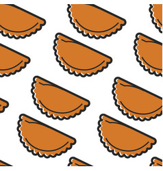brazilian food pastel deep-fried buns with meat vector image