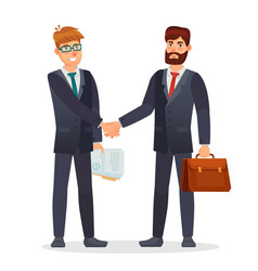business people shaking hands partners making vector image