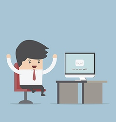 Businessman sit in front computer with envelope vector