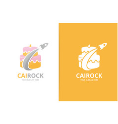 Cake and rocket logo combination pie and vector