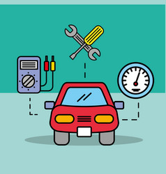 Car service electric speedometer repair tools vector