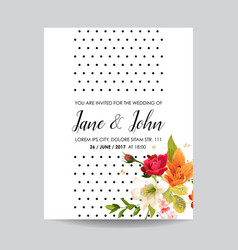 Card with watercolor lily flowers for wedding vector